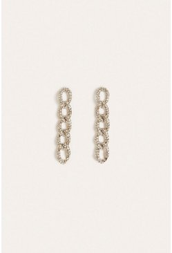 Silver Pave Chunky Chain Earring