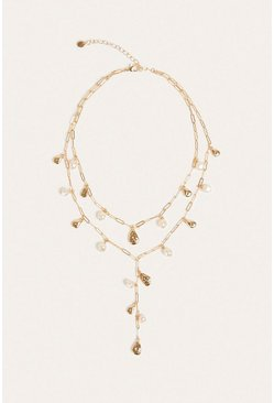 Gold Pearly Chain Layer Necklace