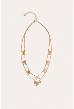 Gold Butterfly Layer Necklace