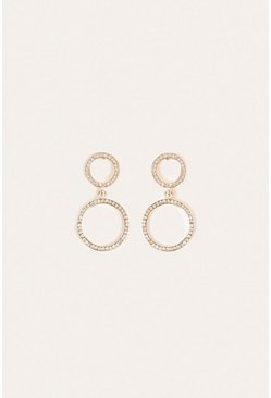 Rose gold Pave Double Hoop Drop Earring