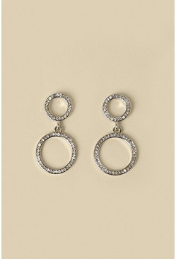 Silver Pave Double Hoop Drop Earring