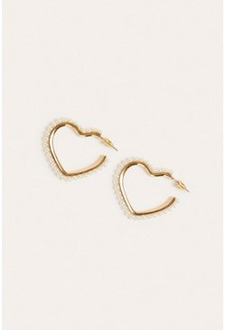 Cream Pearly Heart Earring