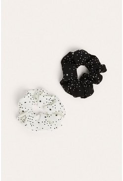 Multi 2pk Star Print Scrunchie Set