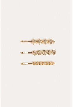 Gold Celestial 3 Pack Hair Grips