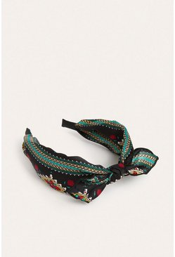 Black Scarf Print Headband