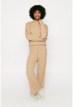 Camel Knitted High Neck Jumper And Split Loungewear Set
