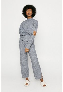 Grey Knitted High Neck Jumper And Split Loungewear Set