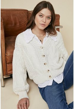 Cream Cable Knit Button Up Cardigan