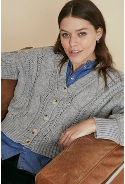 Grey Cable Knit Button Up Cardigan