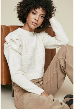 Ivory Puff Sleeve Knitted Crop Jumper