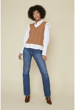 Camel V Neck Cable Top