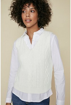Ivory V Neck Cable Top