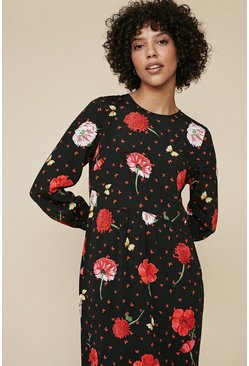 Multi Red Floral Print Tiered Midi dress