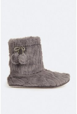Grey Fluffy Boot Slipper