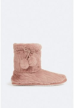 Pink Fluffy Boot Slipper