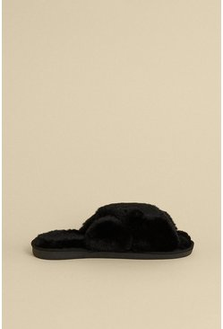 Black Cross Over Fluffy Mule Slipper