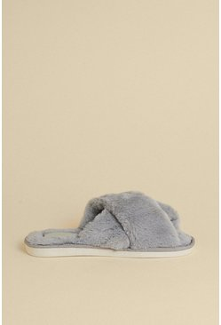 Grey Cross Over Fluffy Mule Slipper