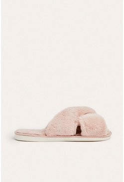 Pink Cross Over Fluffy Mule Slipper