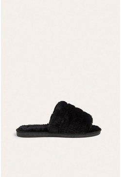Black Fluffy Open Toe Mule Slipper