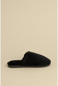 Black Fluffy Mule Slipper