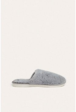 Grey Fluffy Mule Slipper