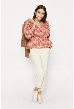 Red Check Ruffle Blouse