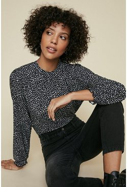 Black Printed Shirred Cuff Long Sleeve Top