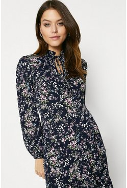 Multi Floral Tie Neck Long Sleeved Dress