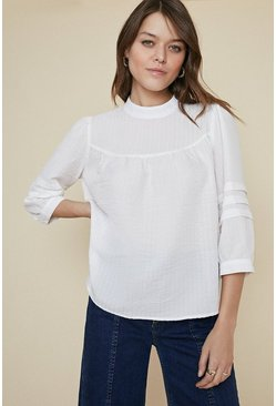White Textured High Neck Blouse