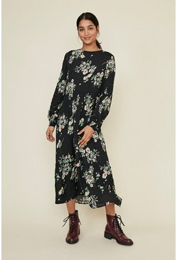 Navy Floral Tiered Smock Midi Dress