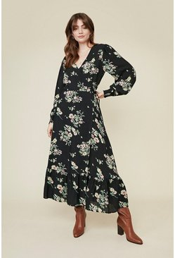 Navy Floral Wrap Midi Dress