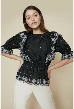 Black Embroidered Ruffle Peplum Blouse