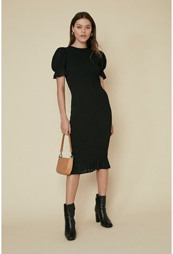 Black Shirred Puff Sleeve Midi Dress