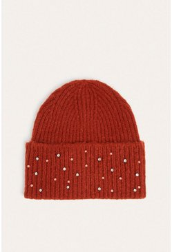Red Sparkle Embellished Ribbed Beanie