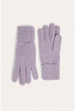 Grey Sparkle Knitted Gloves