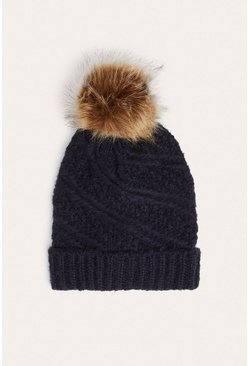 Navy Ribbed Faux Fur Beanie