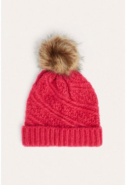 Pink Ribbed Faux Fur Beanie