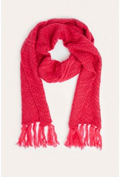 Pink Ribbed Knitted Tassel Scarf