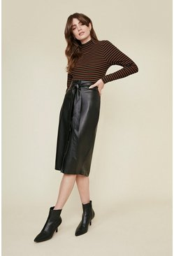 Black Faux Leather Button Midi Skirt