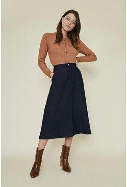 Denim Seam Detail Midi Skirt
