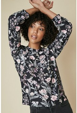 Multi Floral Printed Shirred Cuff Long Sleeve Top