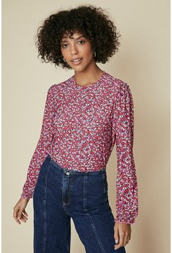 Pink Floral Printed Shirred Cuff Long Sleeve Top