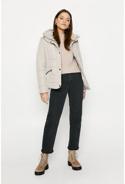 Cream Quilted Short Coat