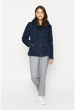 Navy Quilted Short Coat