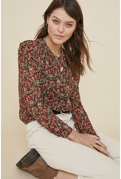 Red Floral Puff Sleeve Blouse