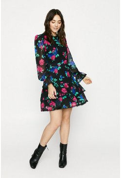 Black Floral Trimmed Skater Dress