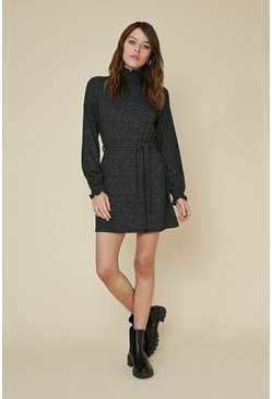 Charcoal Cosy Shirred Neck Belted Tunic