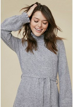 Grey Cosy Shirred Neck Belted Tunic