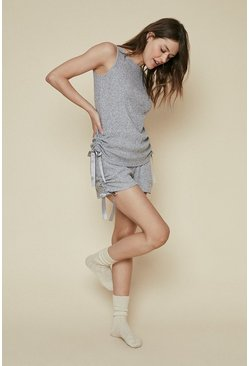 Grey Cosy Rib Ruch Sleeveless Top