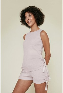 Pale pink Cosy Rib Ruch Sleeveless Top